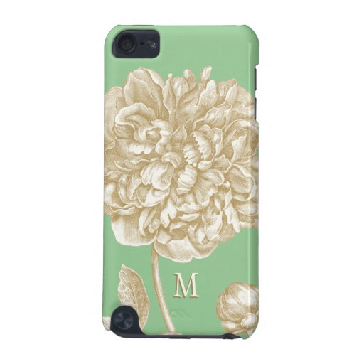 Peony Flower Botanical, Mint  and Gold Monogrammed iPod Touch (5th Generation) Covers
