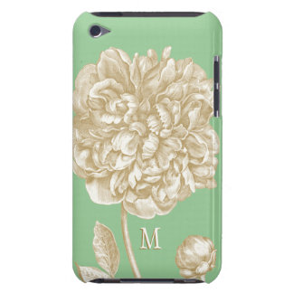 Peony Flower Botanical, Mint  and Gold Monogrammed iPod Touch Case