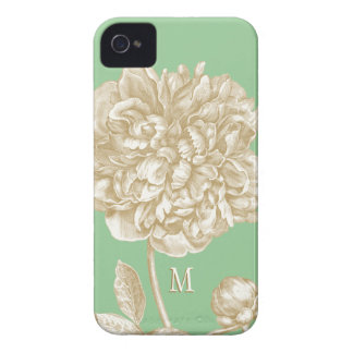 Peony Flower Botanical, Mint  and Gold Monogrammed iPhone 4 Case