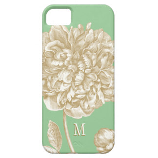 Peony Flower Botanical, Mint  and Gold Monogrammed iPhone 5 Covers