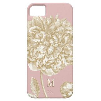 Peony Flower Botanical, Pink and Gold Monogrammed Barely There iPhone 5 Case