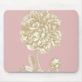 Peony Flower Botanical, Pink and Gold Mouse Mat