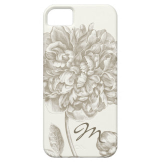 Peony Flower in Shades of White, Monogrammed Case For The iPhone 5