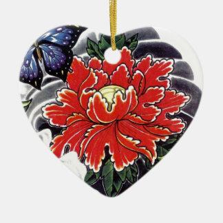 Peony Flower Japanese tattoo design Ceramic Heart Decoration