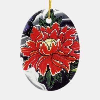 Peony Flower Japanese tattoo design Ceramic Oval Decoration