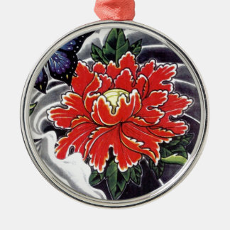 Peony Flower Japanese tattoo design Christmas Ornament