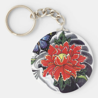 Peony Flower Japanese tattoo design Key Ring