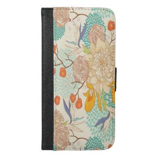 Peony Flower Pattern iPhone 6 Plus Wallet Case