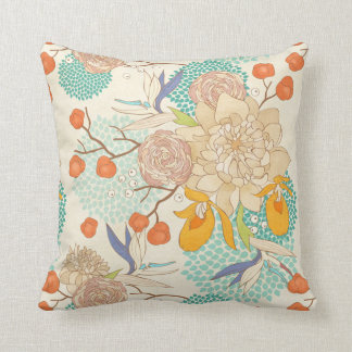 Peony Flower Pattern Throw Pillow