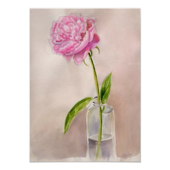 Peony Flower Still Life in Watercolor Poster