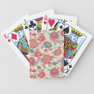 Peony flowers and leaves pattern bicycle playing cards
