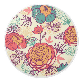 Peony flowers and leaves pattern ceramic knob