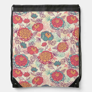 Peony flowers and leaves pattern drawstring bag
