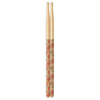 Peony flowers and leaves pattern drumsticks