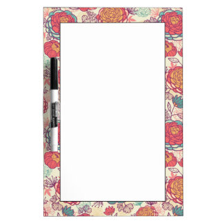 Peony flowers and leaves pattern dry erase board