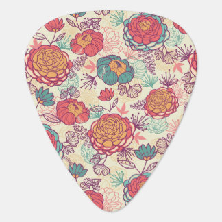 Peony flowers and leaves pattern guitar pick