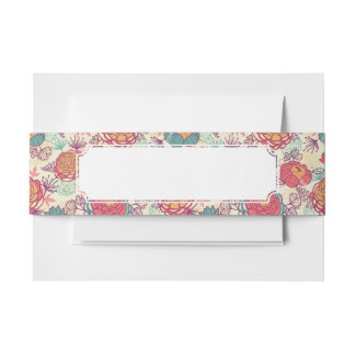 Peony flowers and leaves pattern invitation belly band