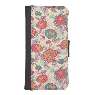 Peony flowers and leaves pattern iPhone SE/5/5s wallet case