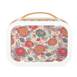 Peony flowers and leaves pattern lunch box
