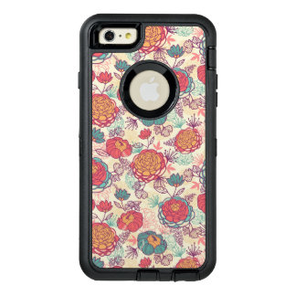 Peony flowers and leaves pattern OtterBox defender iPhone case