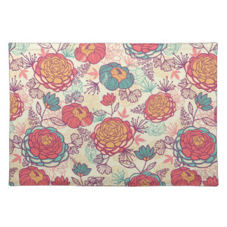 Peony flowers and leaves pattern placemat