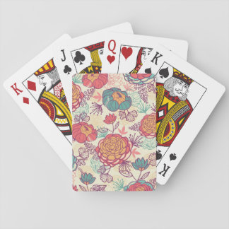 Peony flowers and leaves pattern playing cards