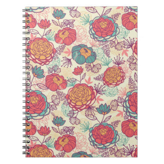 Peony flowers and leaves pattern spiral notebook