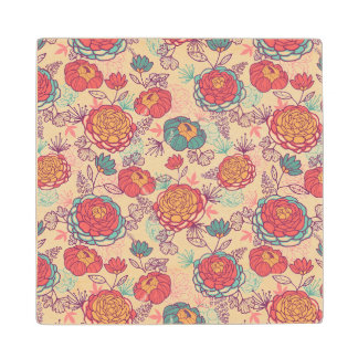 Peony flowers and leaves pattern wood coaster