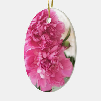 Peony Flowers Close-up Sketch Ceramic Oval Decoration