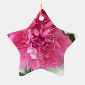 Peony Flowers Close-up Sketch Ceramic Star Decoration