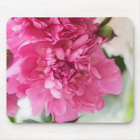 Peony Flowers Close-up Sketch Mouse Mat