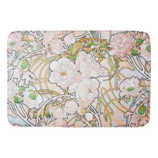 Peony Flowers Floral Art Nouveau Bath Mat