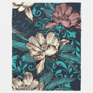 Peony flowers on blue. Victorian style Fleece Blanket