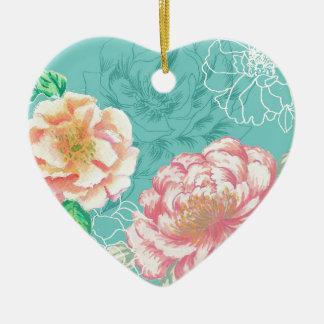 peony hand painted original floral design ceramic heart decoration