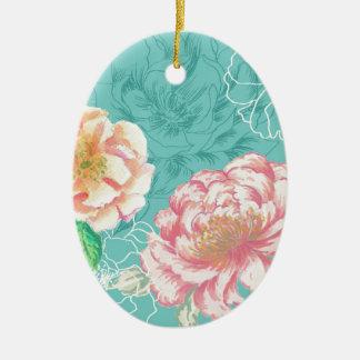 peony hand painted original floral design ceramic oval decoration