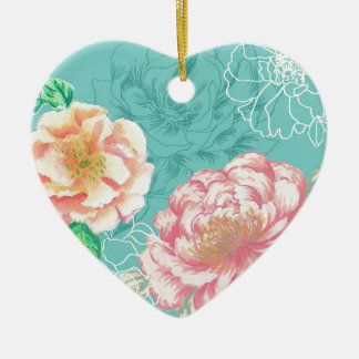peony hand painted original floral design christmas ornament