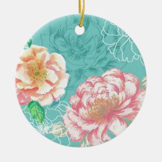 peony hand painted original floral design round ceramic decoration