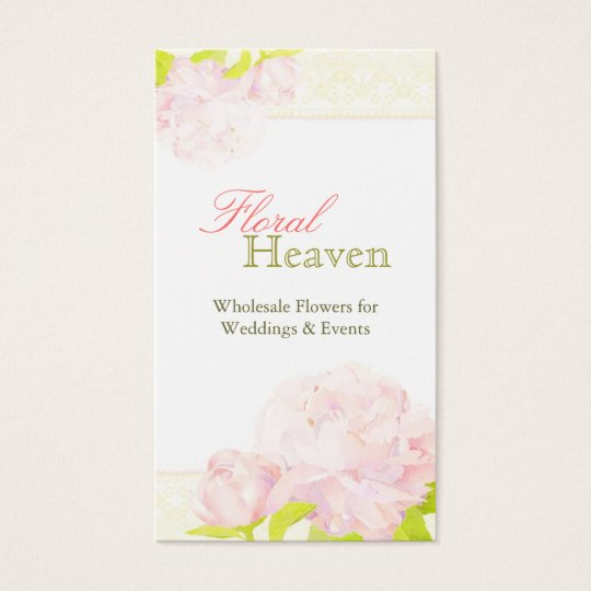 Peony + Lace Pattern Wedding Florist Business Card