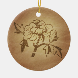 Peony Love and Affection Chinese Magic Charms Round Ceramic Decoration