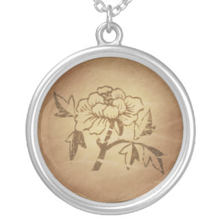 Peony Love and Affection Chinese Magic Charms Silver Plated Necklace