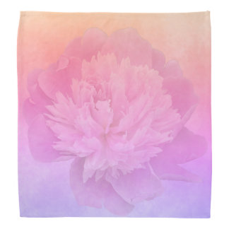 Peony on ultra violet peach and golden gradient bandana