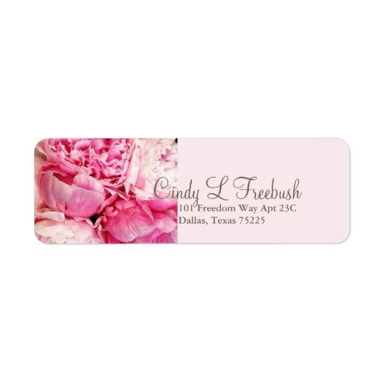 Peony pink address return label return address label