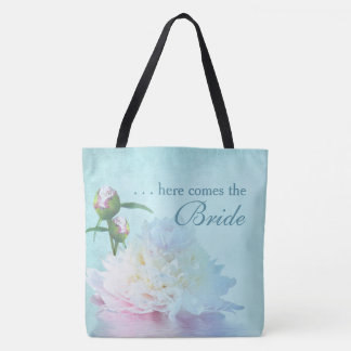 PEONY REFLECTION - PEONY HERE COMES THE BRIDE TOTE TOTE BAG