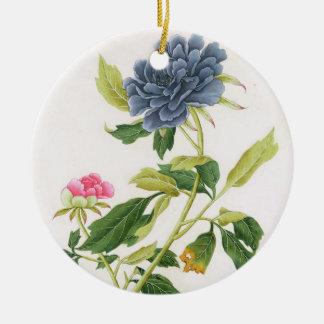 Peony Round Ceramic Decoration