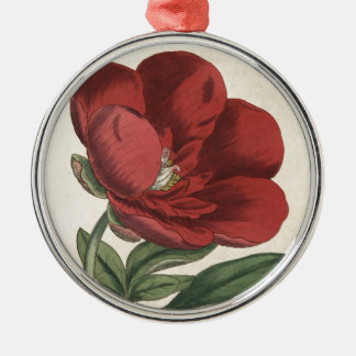 Peony Silver-Colored Round Decoration