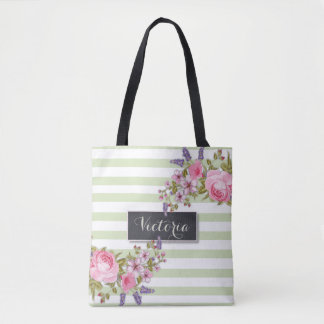 Peony Watercolor Floral Personalized Tote (green)