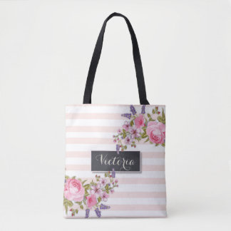 Peony Watercolor Floral Personalized Tote (pink)