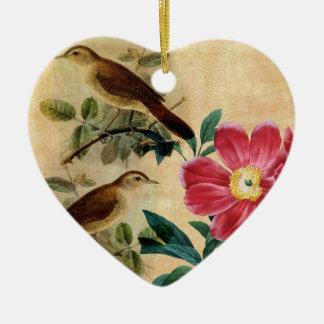 Peony with Nightingales Ceramic Heart Decoration