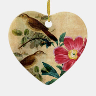 Peony with Nightingales Christmas Ornament