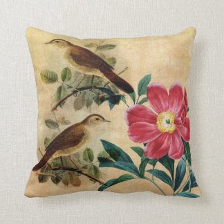 Peony with Nightingales Cushion